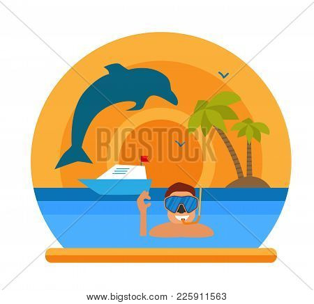 Diving In Tropical Sea Off Paradise Island. Beach Vacation, Palm Tree, Dolphin, Diving Mask, Snorkel