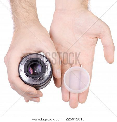 Lens Objective In Hand On White Background Isolation