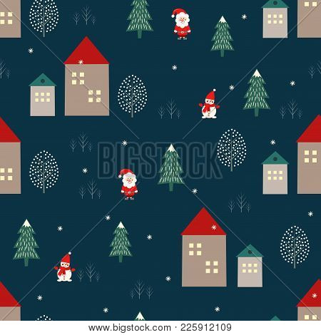 Santa Claus, Xmas Tree, Houses And Snowman Seamless Pattern On Blue Background. Vector Holidays Illu