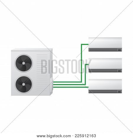 The Air Conditioning System Vector Illustration. One Outdoor And Three Indoor Wall Unit. Multi Split
