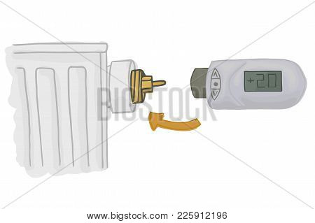 Heating Radiator With Electronic Thermostatic Head With Display. Heating System. House Temperature C