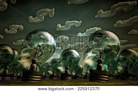 Surreal painting. Field of light bulbs. 3D rendering