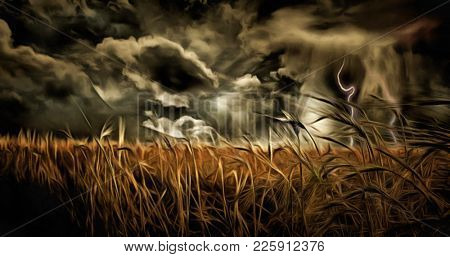 Oil painting. Dramatic stormy clouds over field of wheat. 3D rendering
