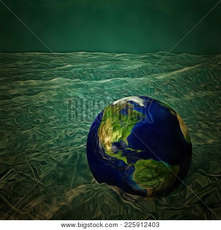 Surreal painting. Planet Earth floats in a sea of cash. 3D rendering