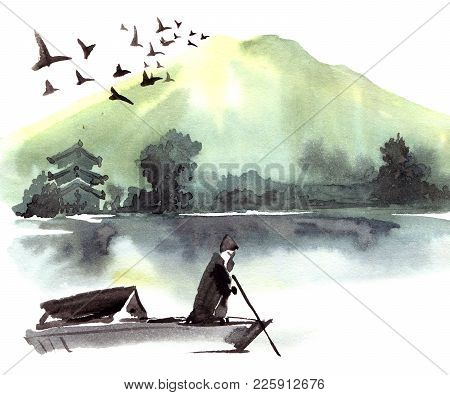 Fishman In The Boat. Chinese Landscape With Mountain, Birds, River, Trees, Pagoda. Watercolor And In