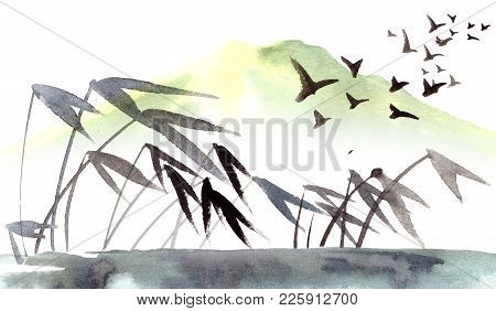 Wild Cane On The River. Chinese Landscape With Mountain, Birds, River. Watercolor And Ink Illustrati