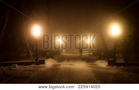 fog, night, gloomy, street, road, dark, light, black, mist, scene, city, urban, evening, spooky, dra