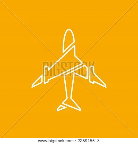 Icon Of Transparent Airplane, Plane On Orange Background Vector Illustration. Airport Icon, Airplane