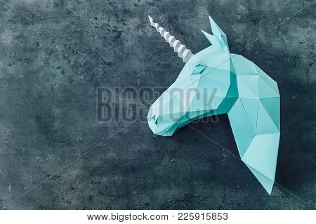 Blue Unicorn On The Textured Background. Artwork. 3d Model Of A Unicorn. Copy Space