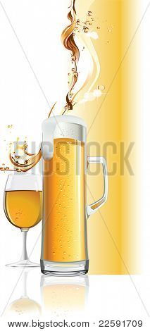 Beer mug. Raster version of vector illustration.