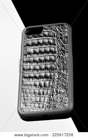 Exclusive Black Crocodile Alligator Leather Case For Smartphone.luxury Case. On Black And White Back