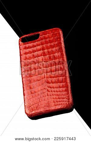 Exclusive Red Crocodile Alligator Leather Case For Smartphone.luxury Case. On Black And White Backgr