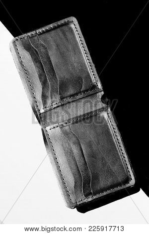 Wallet Of Black Crocodile Skin.luxury Wallet.black And White Background