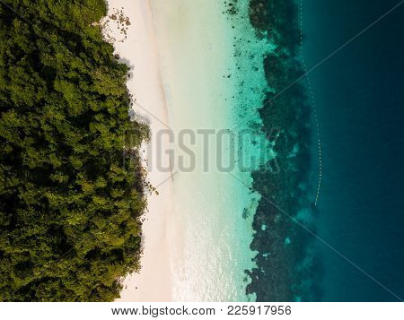 Aerial View From A Drone Of Beautiful Madame Beach At Nyaung Oo Phee Island On Sunny Day In Myanmar