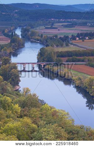 The Famous View Of The River Dordogne From The Bastide Of Domme, Aquitaine, France, As Summer Turns