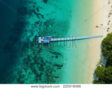 Aerial View From A Drone Of Beautiful Nyaung Oo Phee Island On Sunny Day In Myanmar