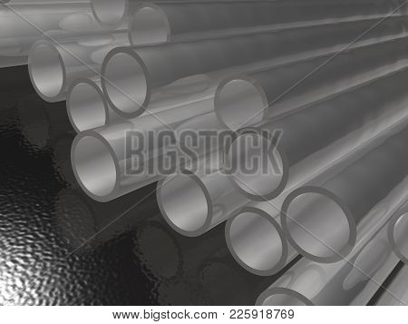 Grey Pipes As Abstract Background, 3d Illustration.