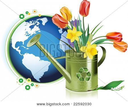 Earth Day. Raster version of vector illustration.