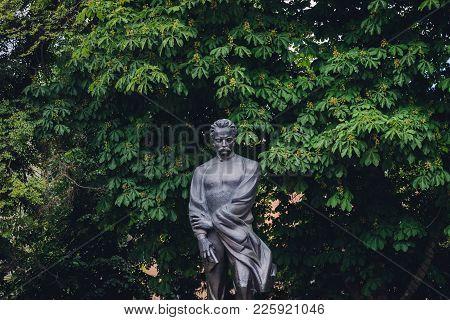 Ternopil, Ukraine - June 9, 2017: Statue Of Ivan Franko Ternopil City, Ukraine