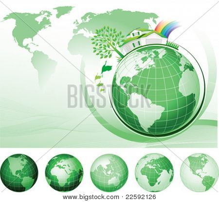 Global Conservation Concept. All elements and textures are individual objects. Vector illustration scale to any size.