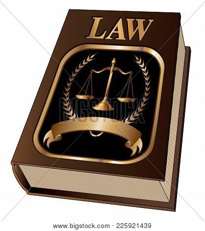 Law Book With Seal Is An Illustration Of A Law Book Used By Lawyers And Judges With A Scale Of Justi