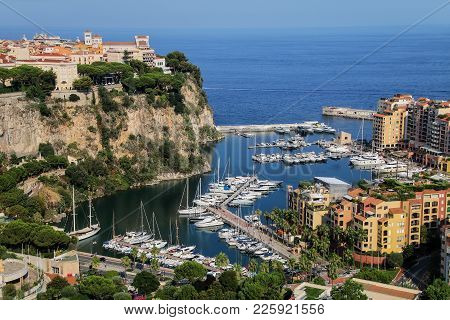 View Of Monaco City And Fontvieille With Boat Marina In Monaco.  Monaco City And Fontvieille Are Two