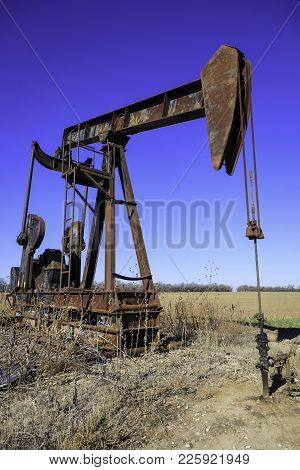 Kansas Oil Field Pump Jack Producing Crude Oil