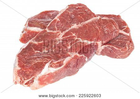 Blade Steal Raw - Two Pieces Of Beef Top Blade Steak, Suitable For Making Stew, Isolated On White, F