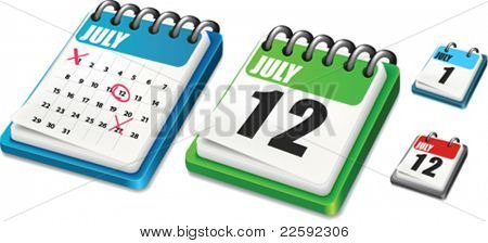 Calendar. All elements and textures are individual objects. Vector illustration scale to any size.