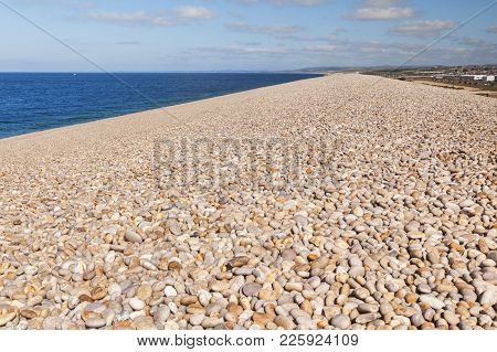 Some Of The Pebbles Of Chesil Beach, Dorset, England, Uk, Which Stretches For 18 Miles.