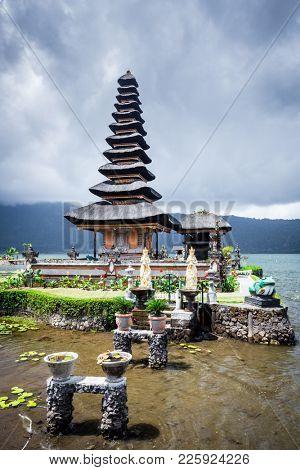 Pura Ulun Danu Bratan, Bali. Hindu temple on Bratan lake. Major Shivaite and water temple Bali, Indonesia. Travel Bali, Indonesia.