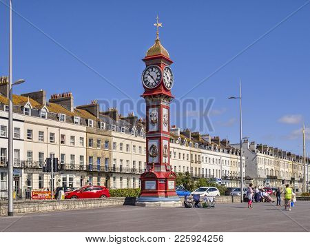 2 July 2017: Weymouth, Dorset, England, Uk - The Jubilee Clocktower On Weymouth Promenade On A Beaut
