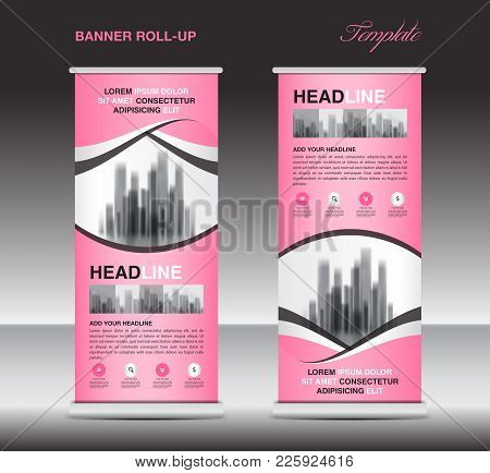 Pink Roll Up Banner Template, Stand, Display, X-banner, J-flag, Pull-up, Poster, Event, Advertisemen
