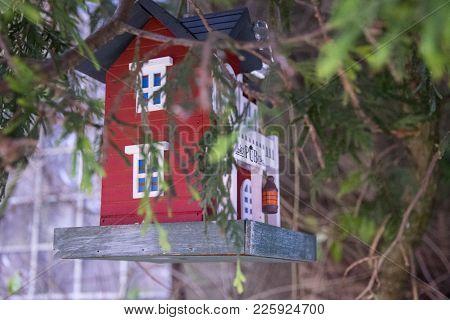 Red Bird Feeder With Pub Under Green Conifer