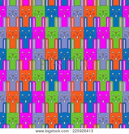 Cute Bunny Pattern. Seamless Vector Background With Rabbits For Kids Design. Funny Rabbit Cartoon Se