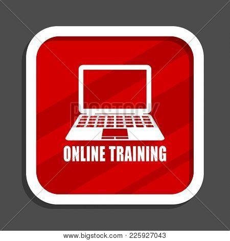 Online training icon. Flat design square internet banner.