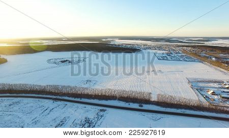 Rural Winter Landscape. Aerial View. Aerial View Of Small Village In Winter. Aerial View Of Winter S