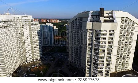 Aerial View On Apartment Building Or Apartment Building With Sun Reflection. Clip. Big White Modern