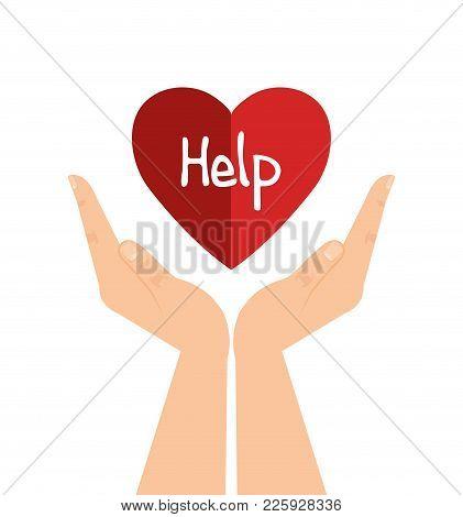 Hands With Heart Help Vector Illustration Design