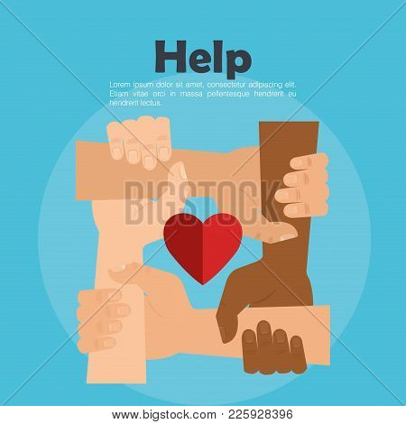 People Hands With Heart Help Vector Illustration Design