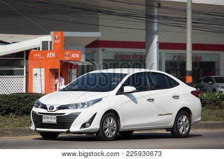 Chiang Mai, Thailand -january 9 2018: New Private Sedan Car Toyota Yaris Ativ Eco Car.  Photo At Roa