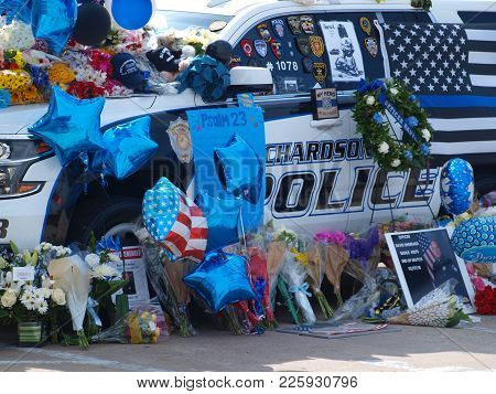 Dallas, Usa, February 09,2018, Memorial Grows Outside The Richardson Police Department Building With