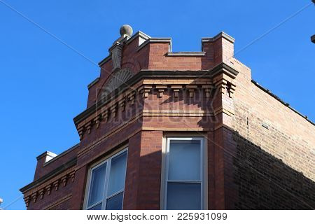 Blue Skies Over Chicago, Il Brick Building