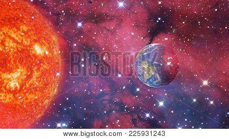 The Big Sun And The Beautiful Earth In The Galaxy