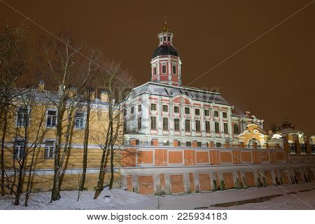 Annunciation Church Of The Alexander Nevsky Lavra In The January Evening. Saint-petersburg, Russia