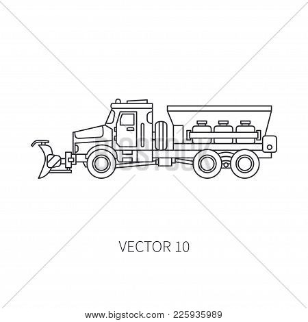 Line Vector Icon Construction Machinery Snowplower Truck Tipper. Industrial Style. Corporate Cargo D
