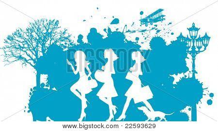Shopping girls. Raster version of vector illustration