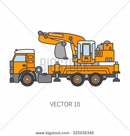 Color Flat Vector Icon Construction Machinery Truck Excavator. Industrial Retro Style. Corporate Car