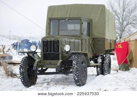 Saint Petersburg, Russia - January 14, 2018: Zis-5 Is The Legendary Soviet Truck Of The Great Patrio