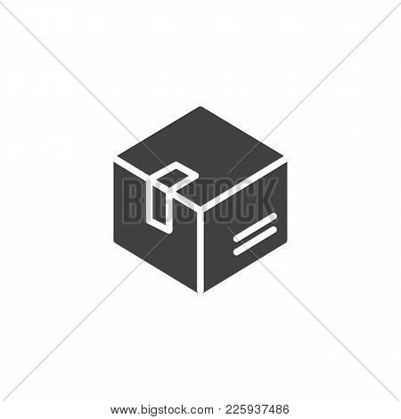 Delivery Box Icon Vector, Filled Flat Sign, Solid Pictogram Isolated On White. Box, Package, Parcel